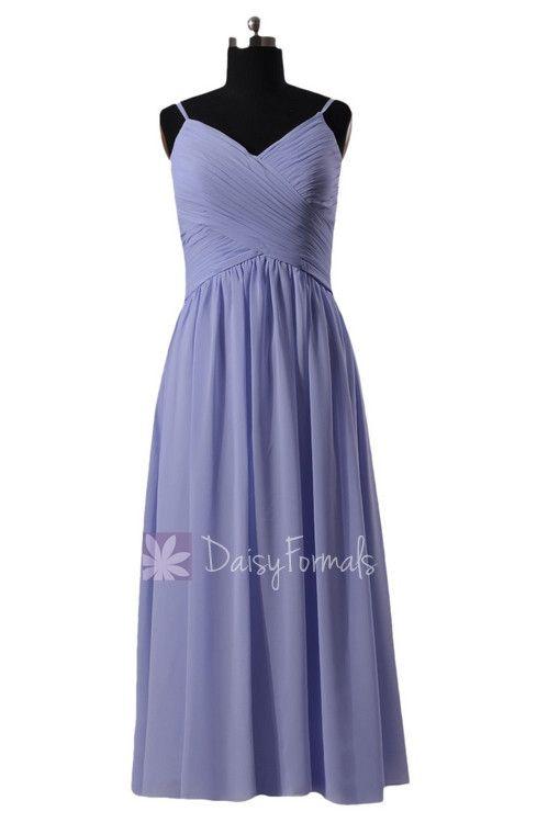 Light Lilac Floor Length Chiffon Dress V-Neck Periwinkle Beach Party Dress W/Straps(BM8515L)