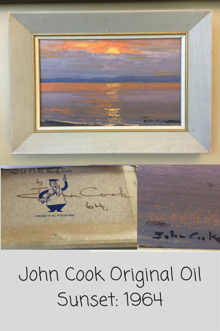 John Cook Original Oil Painting: 1964 Sunset