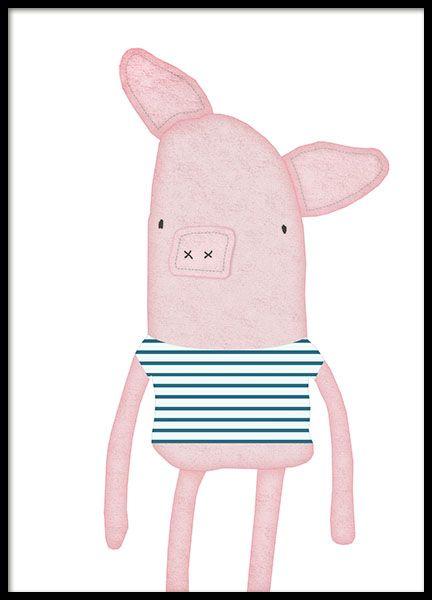 Poster voor kinderen met klein varken in gestreepte trui. Richt de kinderkamer in op een eenvoudige manier met schattige posters! www.desenio.nl
