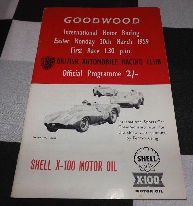 GOODWOOD 100 EASTER MONDAY 1959 RACE PROGRAMME STIRLING MOSS COOPER ROB WALKER