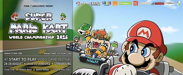 Qualifications Championnat du Monde de Super Mario Kart 2016 - Pour la première fois le Championnat du Monde de Super Mario Kart aura lieu du 24 au 28 août 2016 dans le cadre de Start To Play. Chaque participant aura 5 min en mode Time Trial.