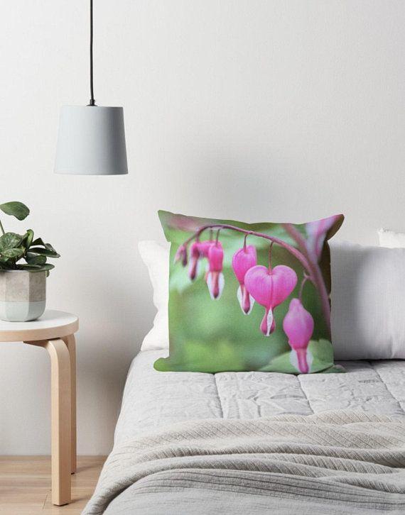 Bleeding Heart Pillow Cover Pink Floral Print Pink Flower Pillow Green Throw Pillow Floor Pillow Green Pillow Garden Floral Home Decor Green Throw Pillows Green Pillows Pillows