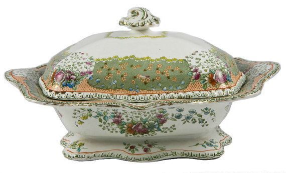 Serve Your Dish in Style Doulton Tureen in by LavishShoestringThis is one for you Nancy,I finally followed you to the United Kingdom where they make this great pieces of art.Jacob the owner will take great care of you and he's very thoughtful.Have you ever seen a more outstanding Tureen?Lisa