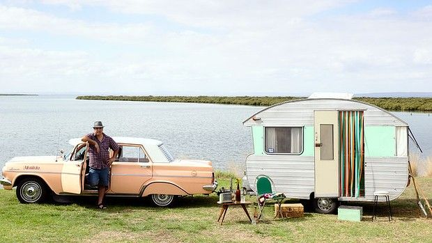 'Tony Galea with his 1961 Sandrover caravan.'  'Trailers and Dreams' article in The Sydney Morning Herald. April 26 2013 (Text by Peter Barrett / photo by Derek Swalwell))