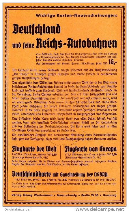 Original-Werbung/ Anzeige 1935 - REICHS-AUTOBAHNEN / VERLAG WESTERMANN - ca. 130 x 220 mm