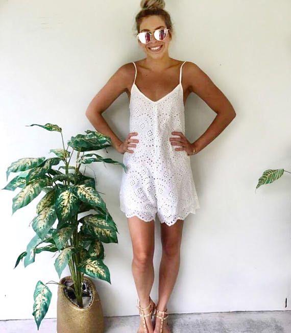 Encaje blanco algodón señoras pijama mono mameluco Festival de