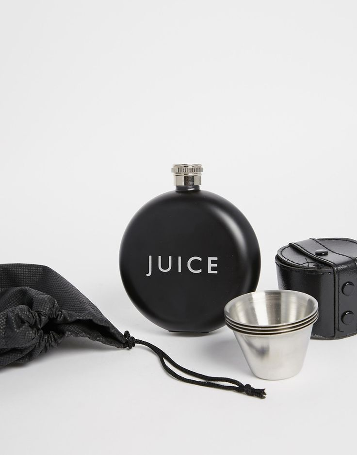 ASOS Gift Set With Hip Flask And Shot Glasses In Black