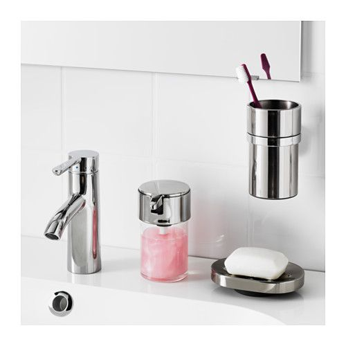 might be nice to get the toothbrushes up off the sink to help organize the kids KALKGRUND Toothbrush holder  - IKEA