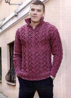 Мужской свитер спицами с воротником стойкой на молнии - Портал рукоделия и моды