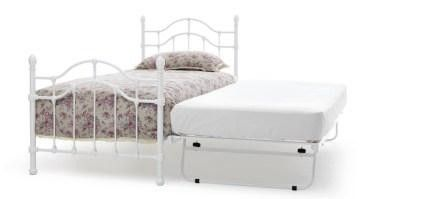 #Paris #Single 3ft Metal Bed Frame in White Gloss With Guest #Bed