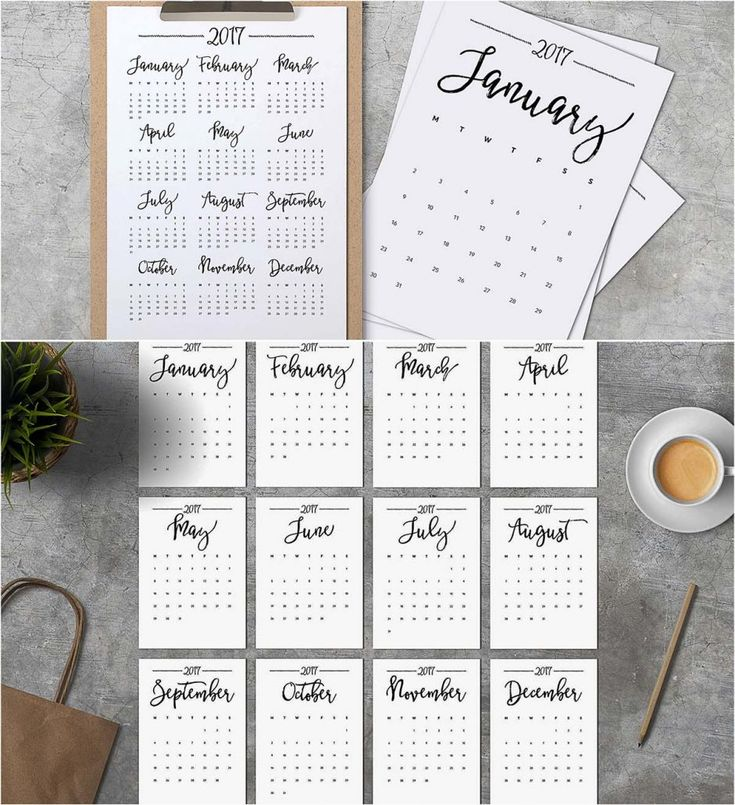 introducing minimalistic calendar of 2017 ready to print free for download file format