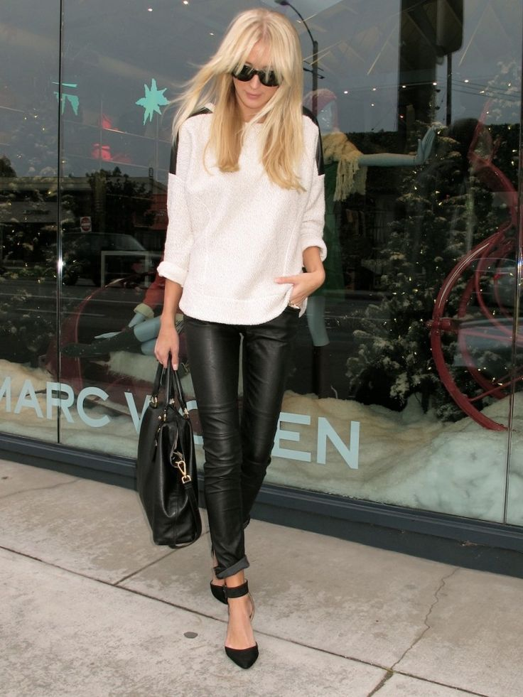 Casual - Leather leggings (rolled cuff), strappy black heels, casual white/black sweater, black bag
