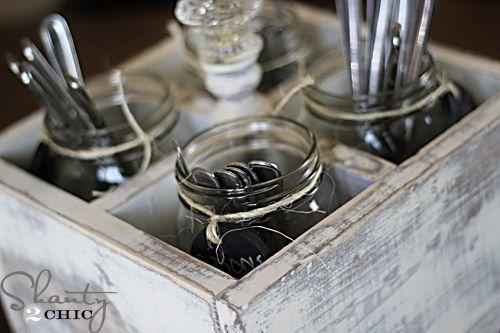 fabulous cutlery caddy, by Shanty2Chic, on HomeTalk--- love the glass jar idea