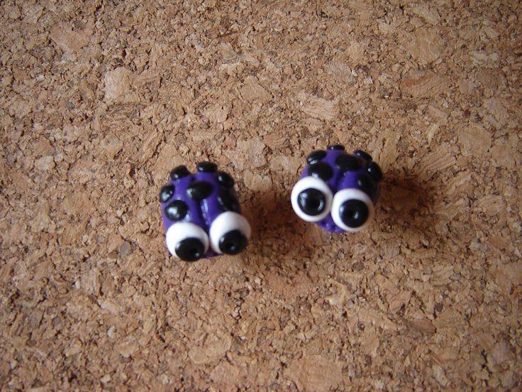 violet ladybirds earrings