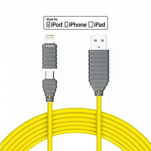 VOJO iMIX Apple Fast iPhone 6 6s Plus iPad mini Charger Micro USB Cable Charging Cord Adapter [Yellow]4ft/1.2mPremium8pinChargeandSyncCordwith AdapterforiPhone5siPadMiniAirProAndorid