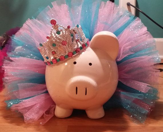 ... Large Pink and Blue Glitter Princess Tutu Piggy Bank by TuTuCutee