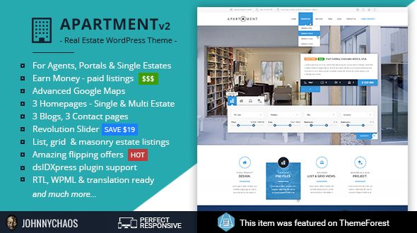 Apartment WP - Real Estate Responsive WordPress Theme for Agents, Portals, Single Property Sites After few months of the development WordPress version of very popular HTML theme is finally ready. Please check the great design and unique options. If you have any pre-sale questions on suggestions please send me a message.
