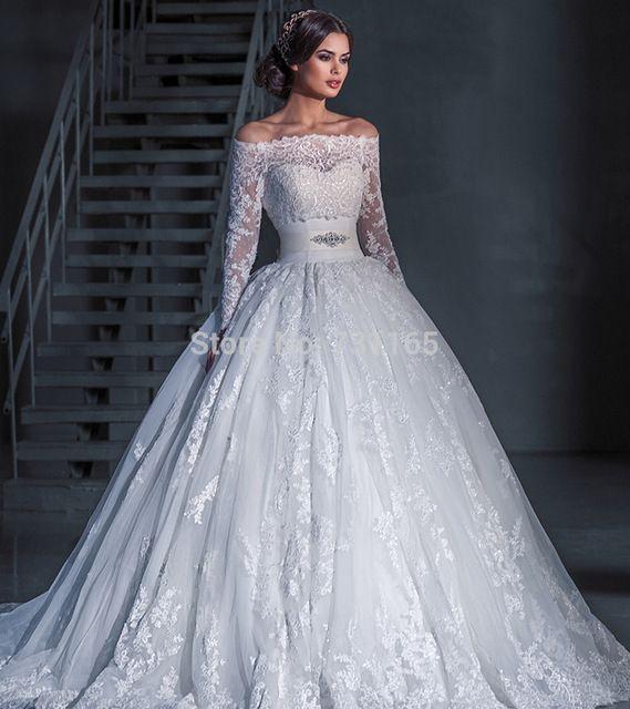 Vestido De Noiva De Renda fora do ombro do Vestido De casamento Vestido De Robe De Mariee Vestido De Noiva Princesa
