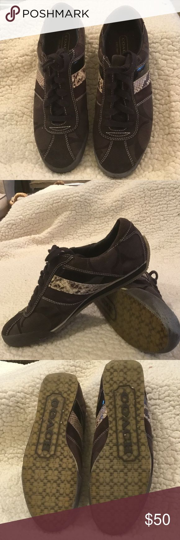 Coach Sneakers Signature Coach Sneakers.Python Strip Lightly Worn Coach Shoes Flats & Loafers