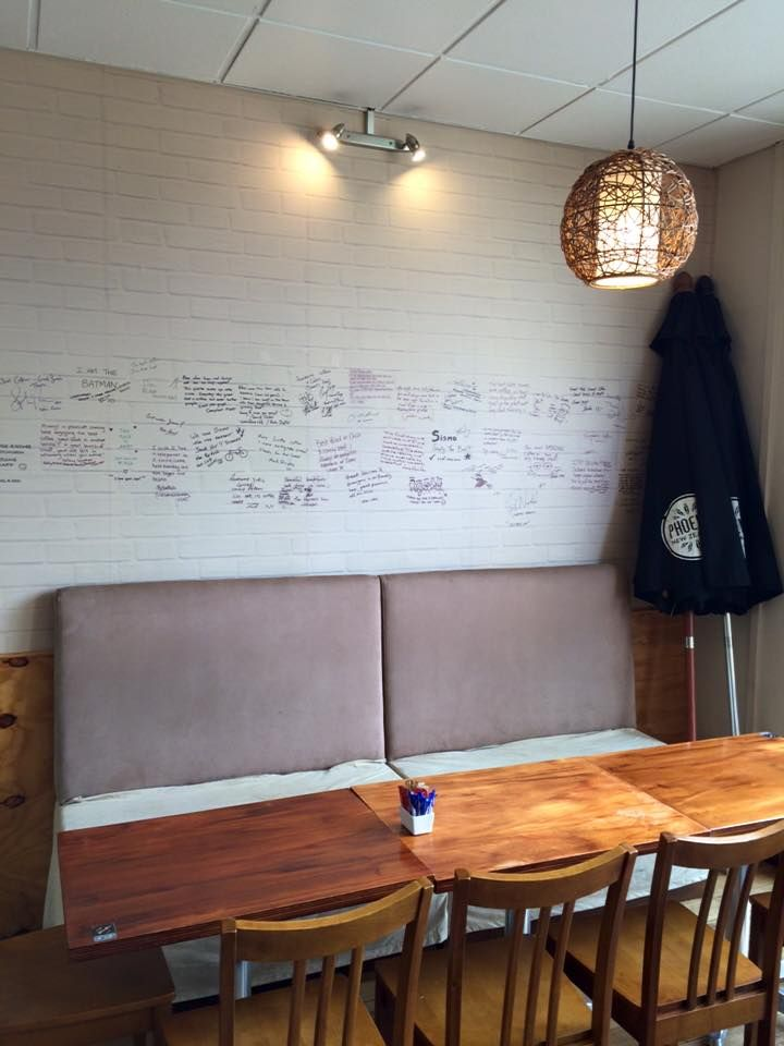 White Brick Wallpaper with a custom design by BC Magic Wallpaper - for Cafe SisMo