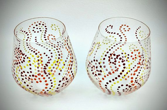 Red orange and yellow dot wine glasses, swirl pattern, Hand Painted, High Quality, fancy wine glass, colorful wine glass, painted wine glass by jodistuff. Explore more products on http://jodistuff.etsy.com