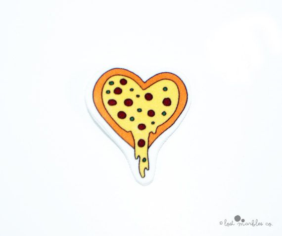 Pizza Heart Pin  Funny Brooch  Joke Badge  Cute Pizza Gift by Lost Marbles Co
