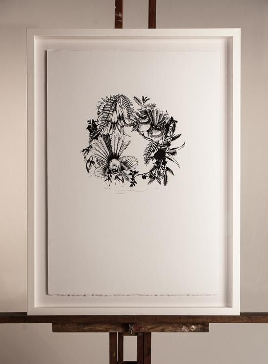 NEW! FANTAIL BLACK AND WHITE (2014)   Screenprint: 500mm x 700mm $350 Edition of 100   Flox.co.nz