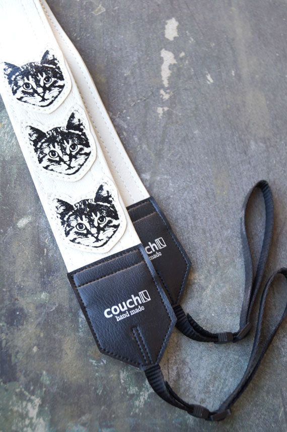 White Cat Camera Strap - Vinyl - Meow Meow Meow on Etsy, $34.95