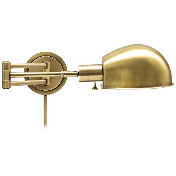 House of Troy Addison Antique Brass Swing Arm Wall Lamp - Style # X5578