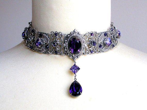 Púrpura Swarovski gargantilla cristal boda gótica gargantilla plata gargantilla collar nupcial joyería gótica victoriana boda joyería