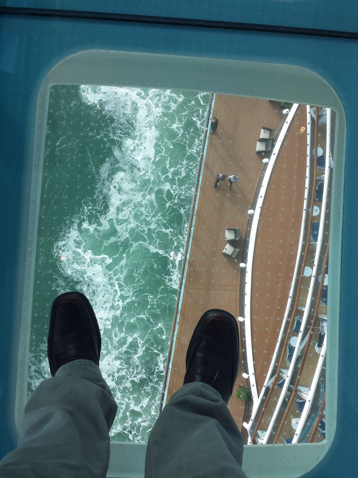 View from Sea Walk on Princess Cruises' brand new #cruise ship, Royal Princess. I'm about 30 feet from side of ship, 17 stories high.