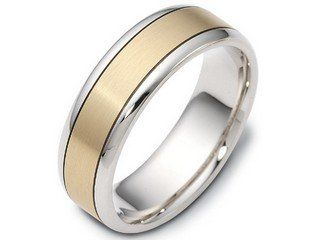 Men's 18kt two tone Dora wedding band Style number: A11728 The men's two tone wedding ring pictured is made in a combination of 18kt yellow gold and 18kt white gold. The 6mm wide slightly rounded band pictured has a matte satin finished yellow gold center and polished white gold edges. This men's wedding ring is part of the Dora brand of wedding rings. This rings Dora code is F1645. You can order this ring as it is pictured, or you can customize the gold colors, and/or change the width below