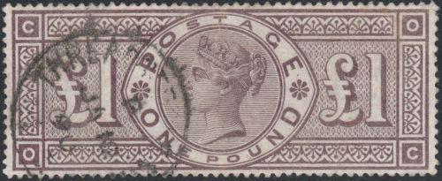 1884-sg185-1-marrone-lilla-filigrana-corone-molto-fine-USATO-London-CD-OC
