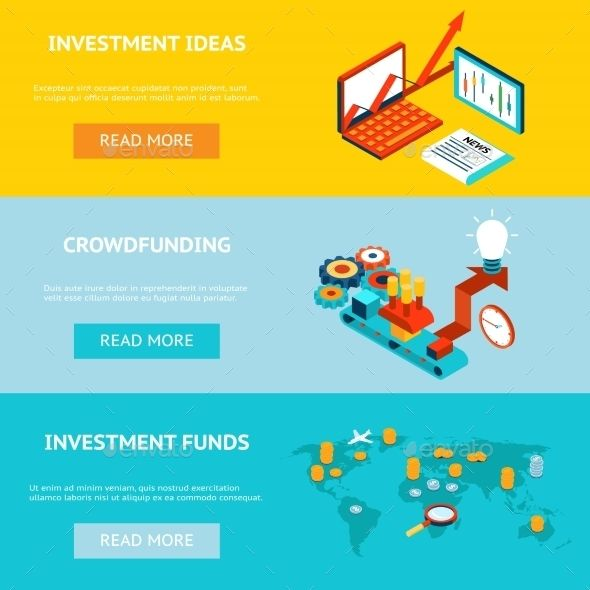 Business Banners. Crowdfunding, Investment Ideas
