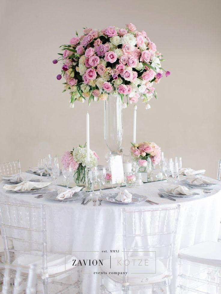 Incredible wedding flowers. Mass arrangement. Pink roses, tulips, white roses. Elegant wedding flowers