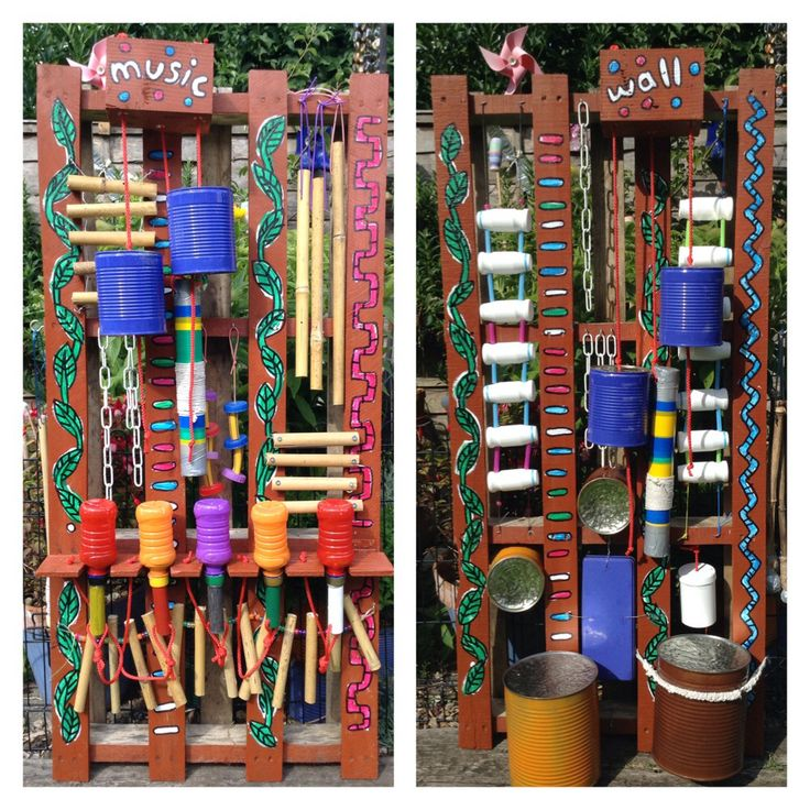 Recycled Music Wall for the kiddies; made from 2 pallets, tin cans, plastic drinks bottles, chains, bamboo, wire, string and shuttle cocks for drum sticks. Then painted all nice and colourful, ready to go in our nursery vegetable garden!