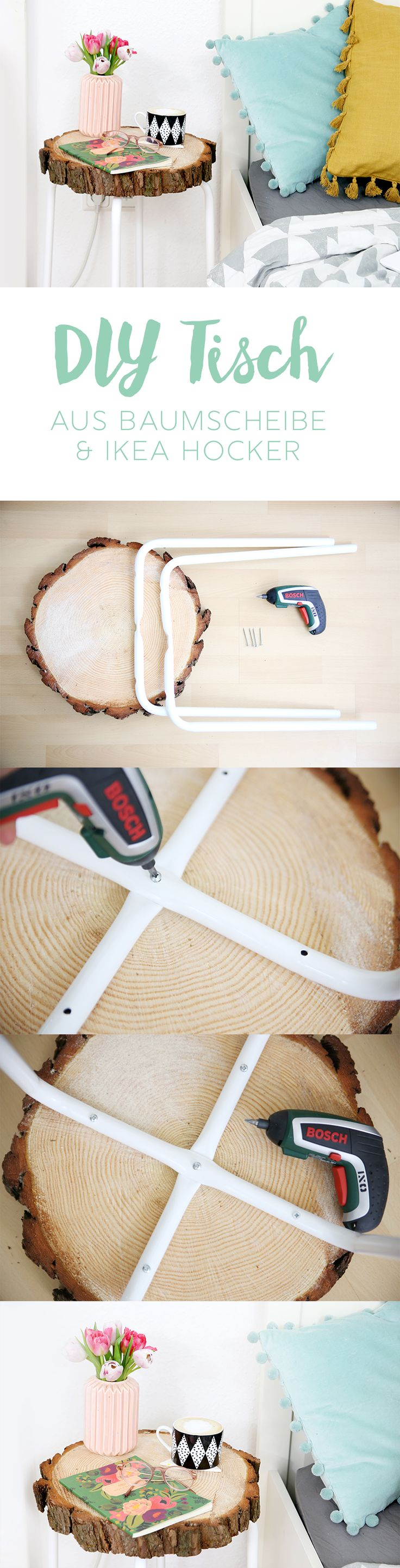 {DIY} side table made of tree disc and Ikea stool