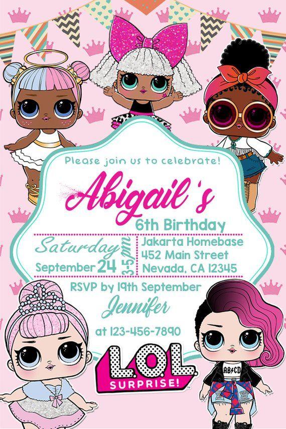 Personalized LOL Doll Invitations Kids Birthday Invitation Party invites card