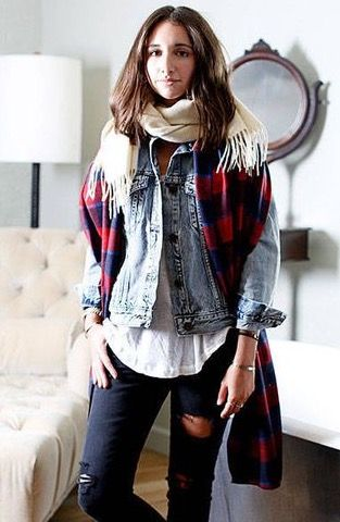 Layering scarves is a great way to stay extra warm and add interest with pattern. Plaid is always a classic with denim. Photo credit- The Honest Company