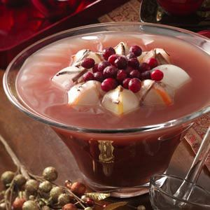 Winter Plum Punch Recipe -The plum jam and spices in this punch create a delightful holiday flavor and aroma. Our Test Kitchen staff filled the ice ring with cinnamon sticks, mint leaves and fruit. —Taste of Home Test Kitchen, Greendale, Wisconsin