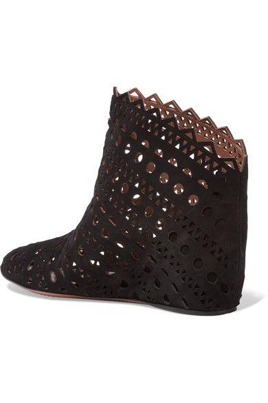 Alaïa - Laser-cut Suede Wedge Ankle Boots - Black - IT40