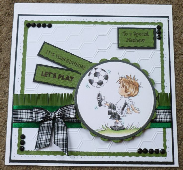 Lili of the valley footballer (LOTV) Nephew, football, stampin up, hexagon embossing, handmade birthday card