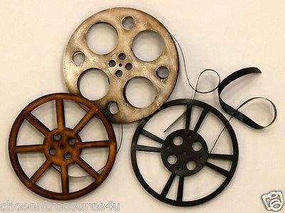 HOME THEATER WALL ART MOVIE REELS THEATRE DECOR RETRO ROOM DECOR 28.5X26IN.