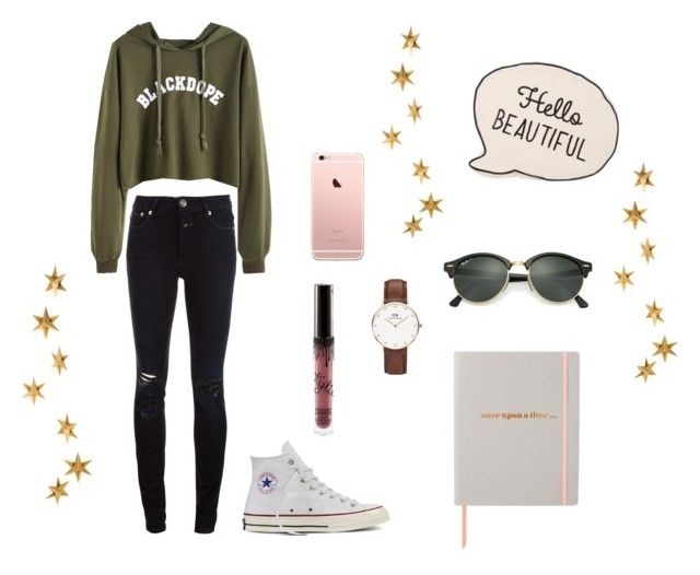 """Untitled #32"" by sofiafisa on Polyvore featuring Closed, Converse, Kylie Cosmetics, Ray-Ban, Livingly, Daniel Wellington and Once Upon a Time"