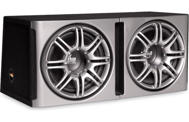 """Polk Audio db1222 Dual 12"""" Loaded db Series Hatchback Ported Subwoofer Enclosure with Grilles. A dual enclosed slot vented MDF trapezoid subwoofer speaker. Equipped with two 12-inch Dynamic Balance polymer composite cones. Frequency response: 27-200 Hz. Power handling: 720 watts continuous, 1440 watts peak. Equipped with a Klippel optimized component using a state-of-the-art Klippel Distortion Analyzer."""