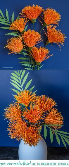 DIY Crepe Paper Pincushion Flowers - www.LiaGriffith.com - #crepepaperflowers #paperflowers #Crepepaperrevival #paperflowertutorial #tropicalpaperflower #TropicalDIY #PaperArt #PaperCraft
