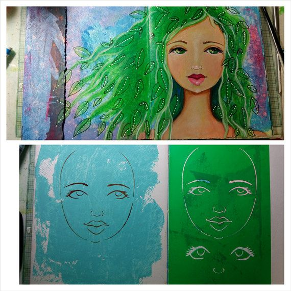 STENCIL Original stencil Goddess Face - use in your mixed media work - reversible & reusable