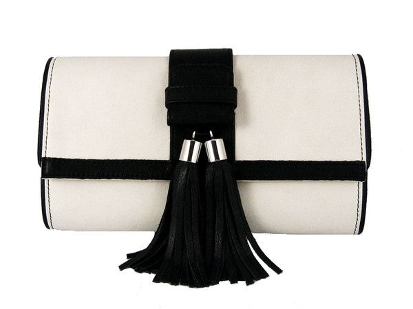 Black and White Tasseled 'Lauren' Small Shoulder Bag
