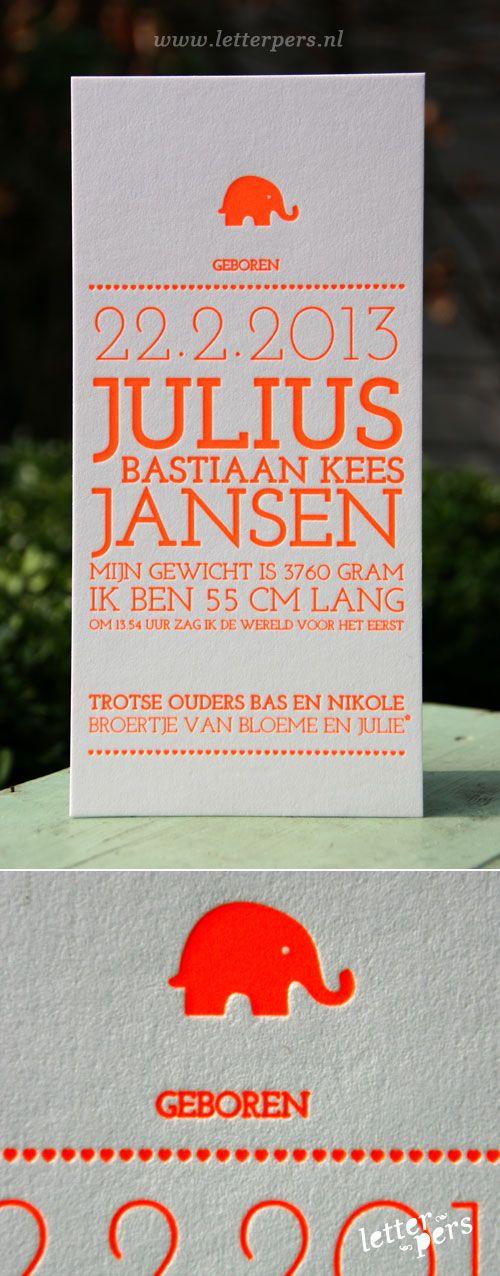 letterpers_letterpress_geboortekaartje_julius_olifantje_fluor_oranje_neon
