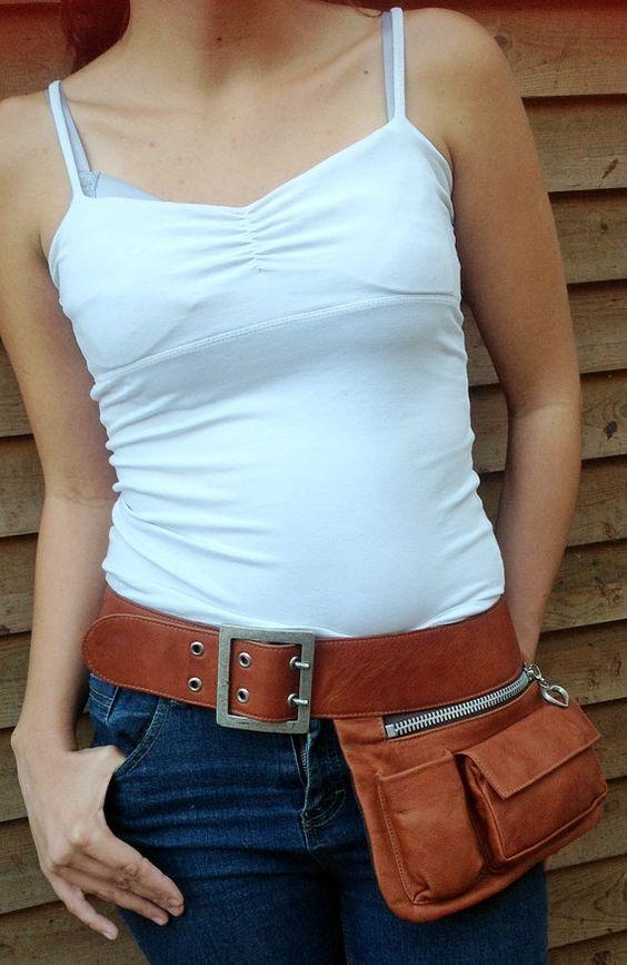 (1) Brown leather Hip Bag, Festival Belt, Fanny Pack, Bum Bag, travel pouch